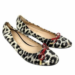Casadei Animal Print Red Bow Ballerina Flats 9B